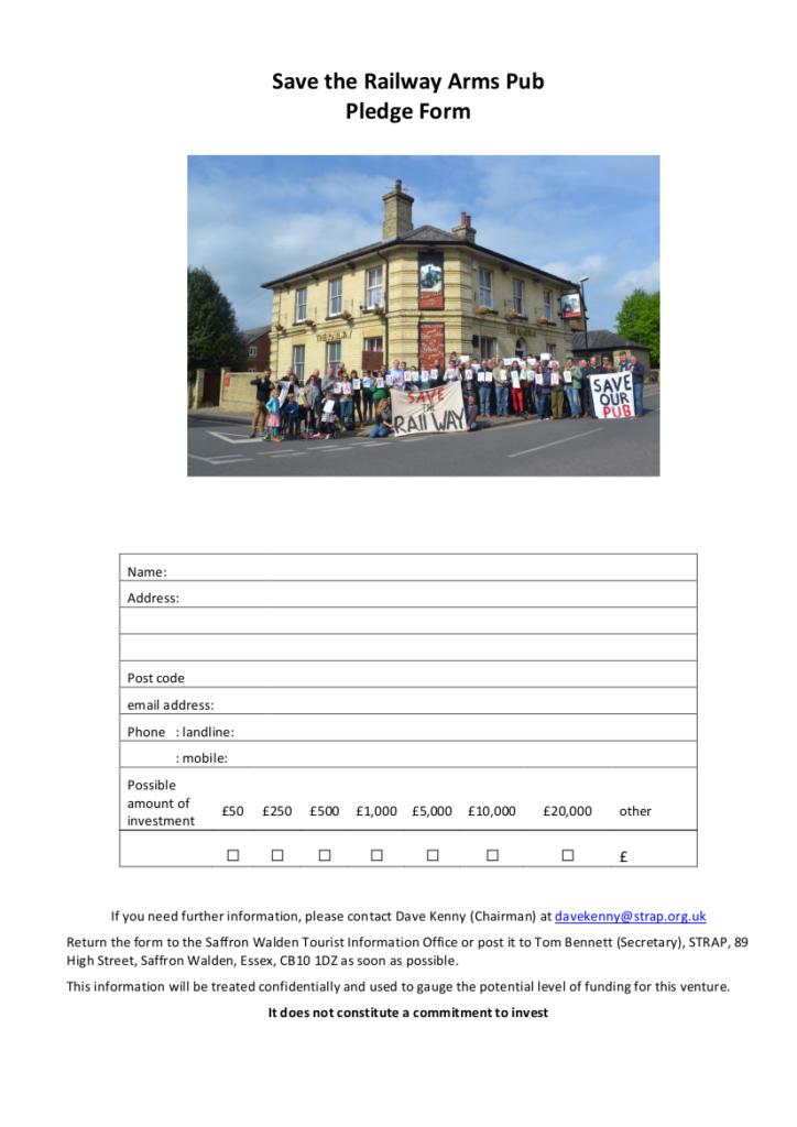 Save the Railway Arms Pub Pledge Form