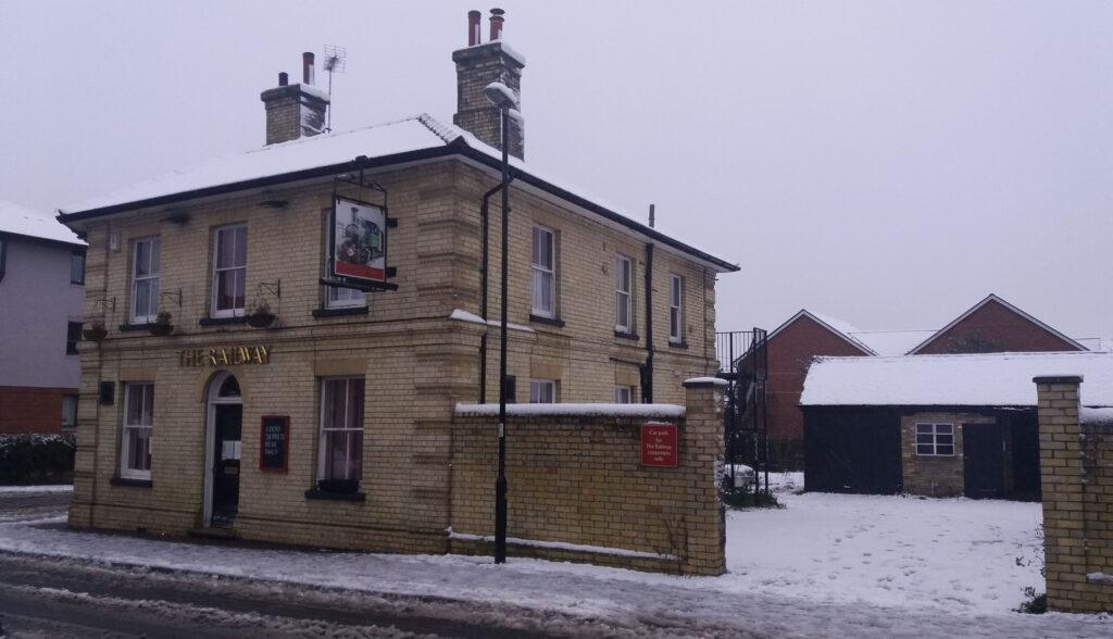 Railway Pub in the snow.December 2020